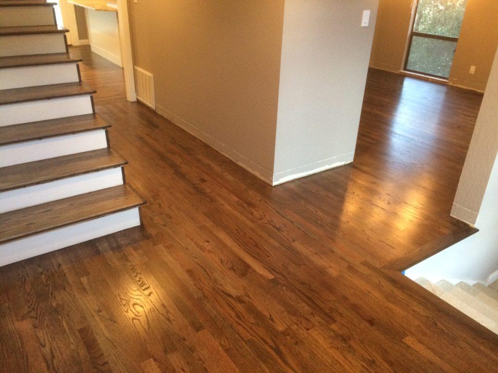 Oak floors stained dark brown