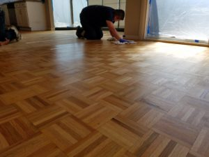 we recently refinished two oak parquet floors in the east bay area in both cases the was to the home owners